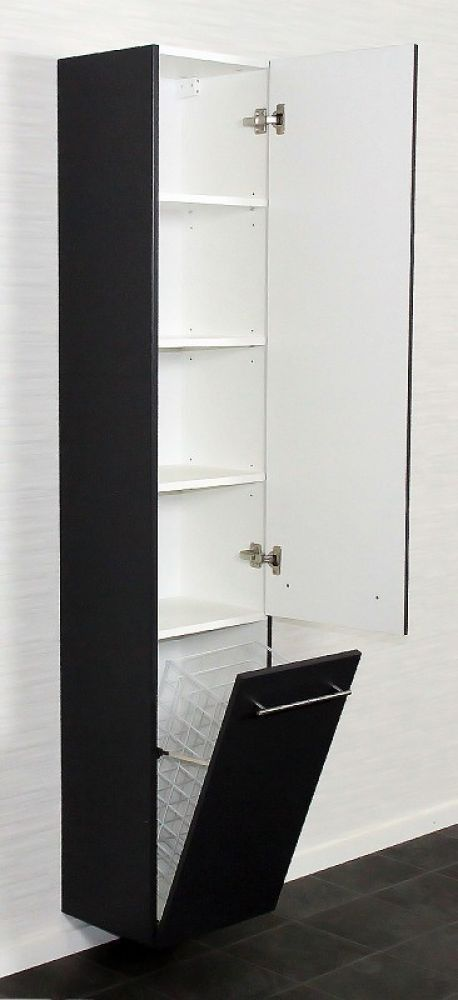 Saniclear Laundry Badkamerkast Zijdeglans Zwart 35x180 Bs465 Locker Storage Bathroom Home Decor