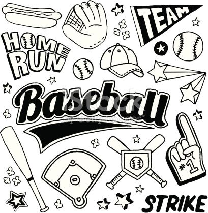 A Baseball Themed Doodle Page With Images Doodles Baseball