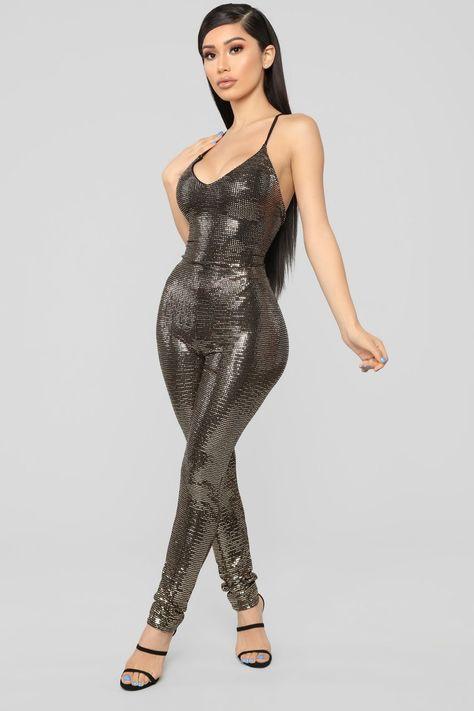 Caylee Sequin Jumpsuit - Gold