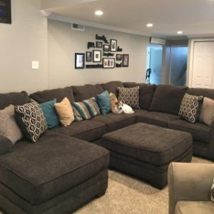 Wetzel 3 Pc Sectional Sofa Gray Sectional Living Room Brown