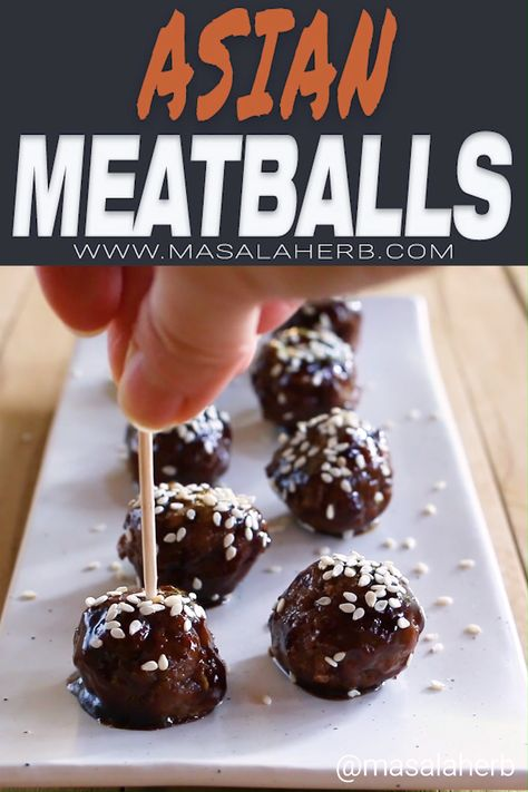 Asian Meatballs with Minced Pork and Beef - How to make Asian meatballs, saucy sticky meatball appetizer with oriental flavors. Easy and quick party appetizer idea. amuse bouche, Hors d'oeuvre idea, new year's, holiday recipes, aperitif, enjoy these delicious mini meatball bites, flavorful sauce prepared with Asian ingredients. www.MasalaHerb.com #appetizer #meatballls #asian