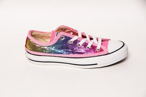 adddafc1ad86 Sequin - Pink Rainbow Multi-Colored Custom Canvas Converse Sneakers Shoes