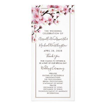 Cherry Blossom Pink White Wedding Programs Zazzle Com Wedding Programs Wedding Program Design Wedding