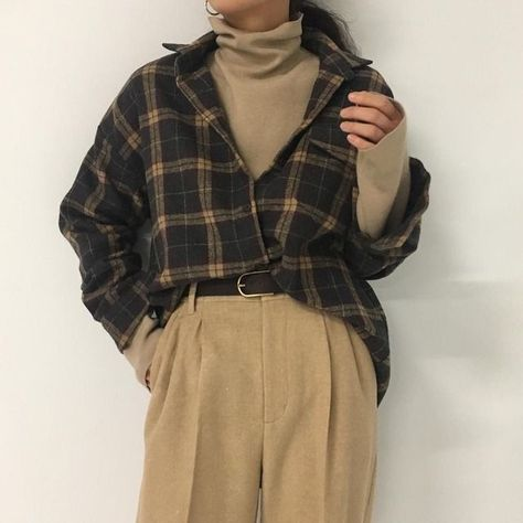brown checked shirt turtleneck trousers black belt autumn fall casual outfits clothes korean fashion school street everyday comfy aesthetic soft minimalistic kawaii cute g e o r g i a n a : c l o t h e s Mode Outfits, Retro Outfits, Grunge Outfits, Fall Outfits, Vintage Outfits, Casual Outfits, Dress Casual, Layering Outfits, Dress Outfits