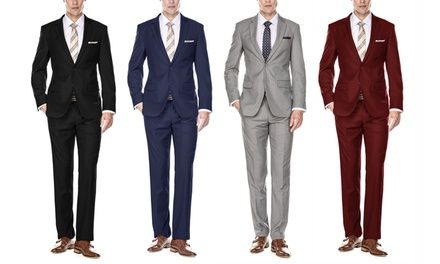 Braveman Mens Classic Fit Single Breasted 2 Piece Suit