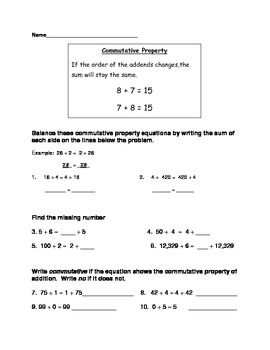 Identity Commutative Associative Properties Of Addition Worksheet Bundle Addition Worksheets Properties Of Addition Commutative Identity property of addition worksheets