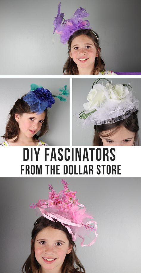 DIY Fascinators - perfect for girls night, tea parties, royal weddings, the Kentucky Derby parties and more! Make your own fancy hats hats kentucky derby DIY Fascinators - Makes these fun hats using dollar store supplies Tea Party Crafts, Diy Party Hats, Tea Party Decorations, Craft Party, Tea Party Games, Tea Party Favors, Sleepover Party, Tea Party Activities, Tea Party Supplies