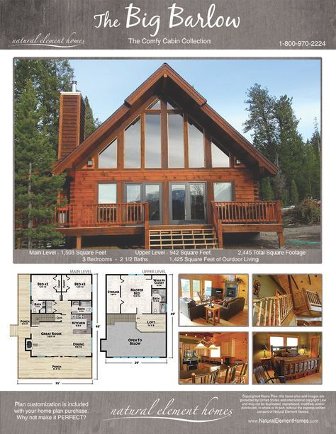 Big Barlow Plan Comfy Cabins Natural Element Homes Cabin House Plans Lake House Plans Cottage House Plans