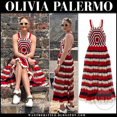 Olivia Palermo In Red And White Striped Crocheted Midi Dress Fashion Style Summer Spring Knitwear Knitted Crochet Fashion Crochet Dress Crochet Clothes