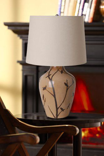 ILLUMINADA 17913 001 3 WAY 23 3/4 INCH BEIGE BIRD PATTERN TABLE LAMP, LIGHT  CHOCOLATE SHADE, WITH BULB   Click Image Twice For More Info   See A Larger  ...