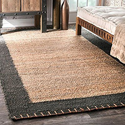 Amazon Com Nuloom Natura Collection Cameron Jute Solid And Striped Natural Fibers Hand Made Area Rug 7 Feet 6 Inch Braided Area Rugs Jute Area Rugs Jute Rug