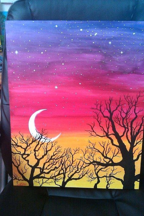 19 Ideas Painting Acrylic Easy Simple Step By Step For 2019 Landscape Paintings Acrylic Tree Painting Canvas Simple Acrylic Paintings