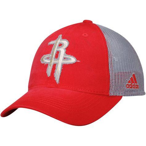 89d5b7a2e Houston Rockets adidas Trucker Adjustable Snapback Hat - Red Gray ...