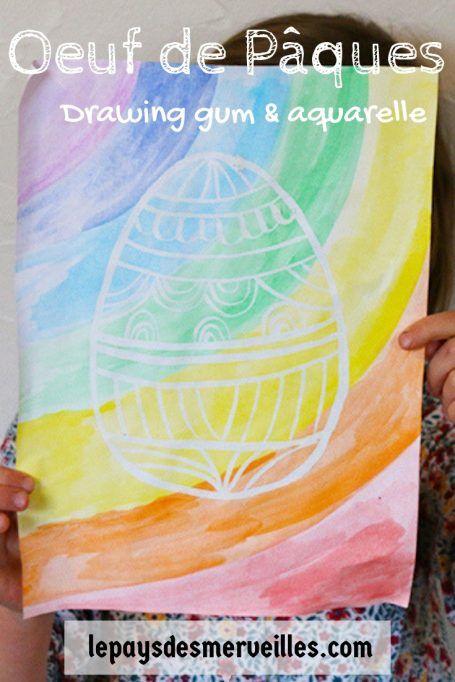 œuf De Paques Au Drawing Gum Et A La Peinture Aquarelle Dessin