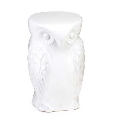 Wise Owl Decorative Stool Ceramic Owl Ceramic Stool Ceramic Decor