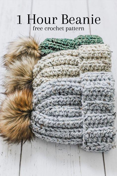 Beanie Pattern Free, Crochet Beanie Pattern, Knit Or Crochet, Cute Crochet, Crochet Crafts, Crochet Hooks, Chunky Crochet Hat, Crochet Mittens, Crochet Basics