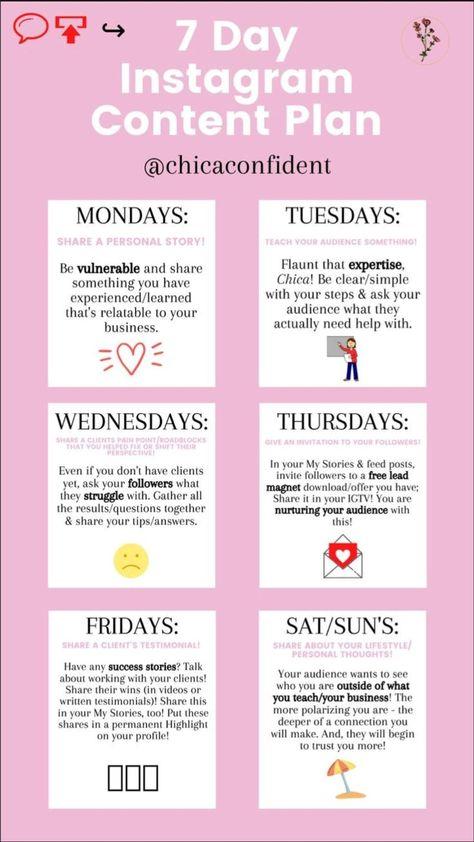 Instagram content plan for 1 week 💸
