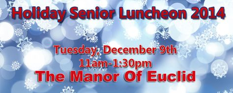Join 107.3 The WAVE on Tuesday, December 9th from 11am-1:30pm for our Holiday Senior Luncheon at The Manor Of Euclid. Enjoy a sit down lunch, live entertainment by Maria Jacobs and Forget The Girl, and The Line Dance King of Cleveland, Robert Johnson. Plus we'll have 30 vendors with information for Seniors and their families, fabulous door prizes and more!