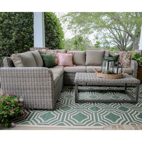 shop leisure made forsyth 5 piece wicker frame patio conversation set with tan cushions at lowes com