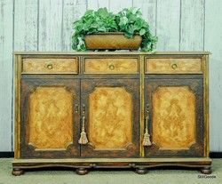 Narrow Console Cabinet In A Fresco Finish With 3 Drawers 3 Doors