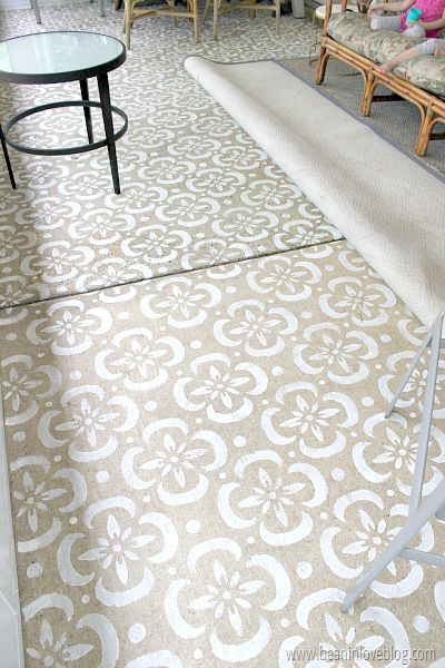 how I stenciled our concrete patio with a stencil I made for under $1 - Bean In Love blog