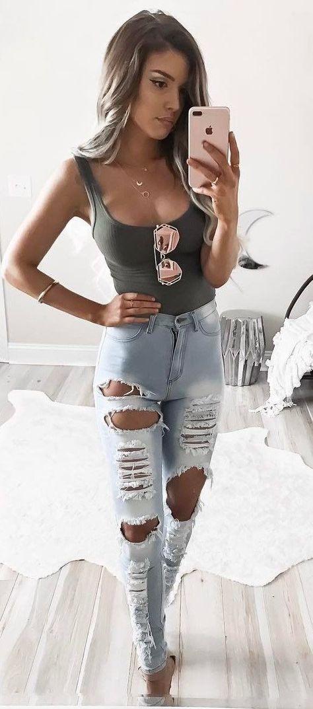 Maillot de bain : #summer #outfits Khaki Bodysuit + Ripped Jeans…