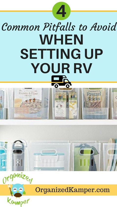 Calling all RV newbies! If you are moving into a motorhome, travel trailer, fifth wheel, or van...you MUST read this for tips on organizing your tiny space to maximize your storage. Don't make these common mistakes when downsizing for RV life. Living in an camper has it's ups and downs but this post will help prepare you for setting up your home on wheels. #RV #RVliving #RVlife #camping #vanlife