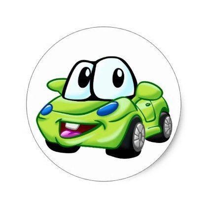 Green Car Funny Car Little Car Classic Round Sticker Zazzle