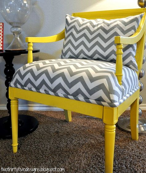 Yellow Louis Chair with Chevron {for the love of chairs