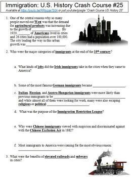 Crash Course U S History 25 Immigration worksheet | Crash Course Us