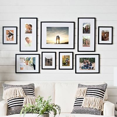 Black 9 Pc Matted Gallery Wall Picture Frame Set In 2020 Picture Gallery Wall Photo Wall Decor Gallery Wall Picture Frames