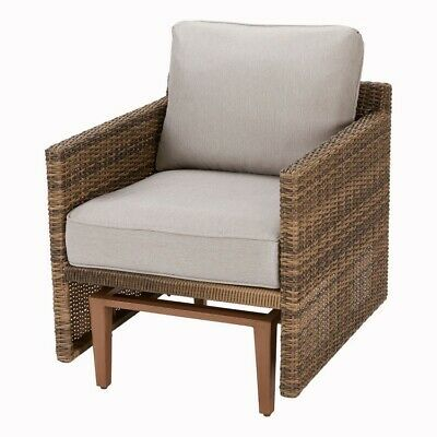Details About Patio Wicker Glider Chair With Beige Cushions Outdoor Davenport Recliner Seats In 2020 With Images Beige Cushions Glider Chair