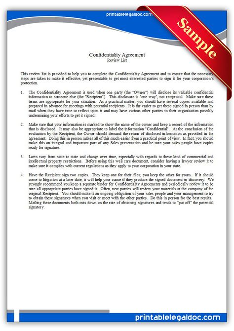 Free Printable Confidentiality Agreement Legal Forms Free Legal - confidentiality agreement template