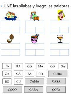 Forma Palabras Idioma Español O Castellano Curso Nivel Primero Primaria Asignatura Lectoescritura Tema Principal Lectura Si Forma Palabras Silabas Fichas