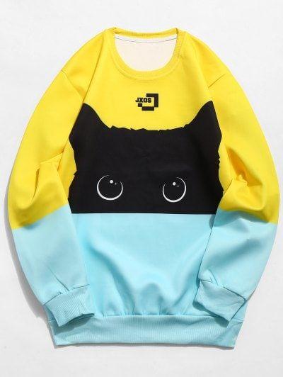Fashion Cute Black Cat Kawaii Long Sleeve Sweatshirt Pullovers Funny Unisex