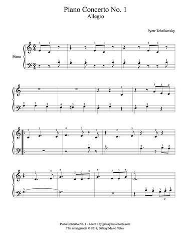 Tchaikovsky S Piano Concerto No 1 Movement 1 Level 1 Piano