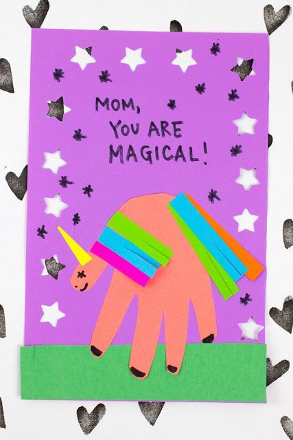 Excellent Magical Mothers Day Unicorn Handprint Card Kids Birthday Cards Funny Birthday Cards Online Alyptdamsfinfo