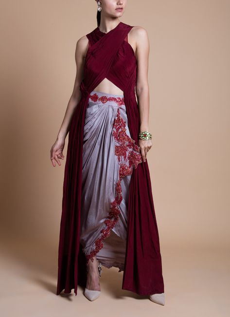Tara Thakur | Cherry Red Draped Top Set | Shop Top & Bottom Sets at strandofsilk.com