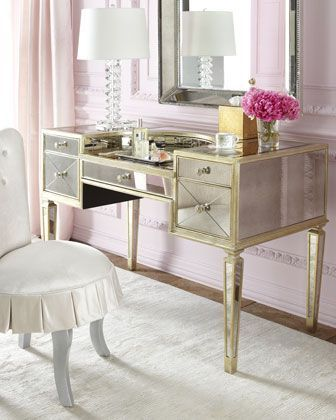 Completely In Love With One Day I Will Be Putting On My Makeup In That Chair At That Vanity 3 3 A Mirrored Vanity Desk Mirrored Vanity Table Vanity Chair