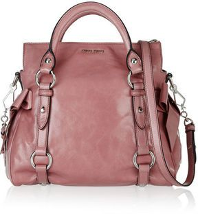 111974294094 Miu Miu Small bow-embellished glossed-leather tote on shopstyle.com ...