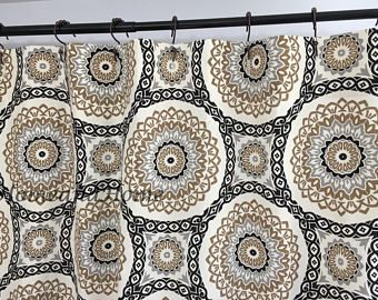 Fabric Shower Curtain Custom High End Designers Olympus Stone