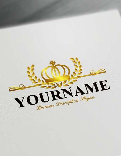 Royalty Crown King Logo Creator Free Logo Maker In 2020 Free Logo Creator Vintage Logo Design Free Logo