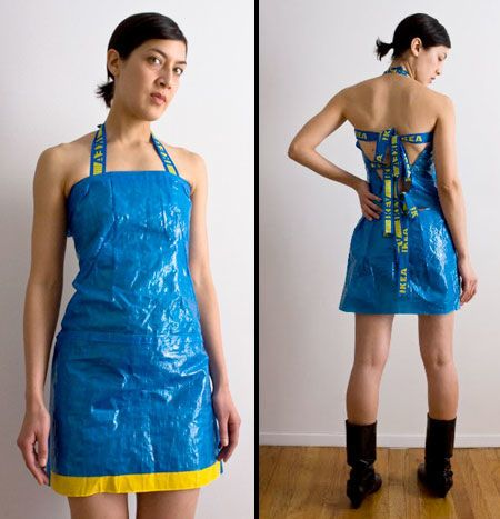 Plastic Bag Dresses - The IKEA Shopping Bag Dress by Adriana Valdez Young is Pure Eco-Chic (GALLERY)