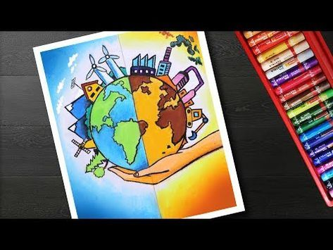 Youtube Poster Drawing Save Earth Drawing Earth Drawings