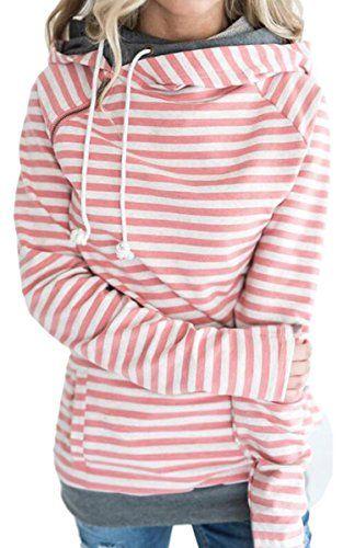 online store dc2ad af4e7 ECOWISH Damen Gestreift Pulli Hoodies Pullover Langarm ...