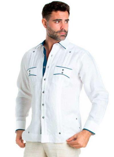 Men S Premium 100 Linen Guayabera Shirt Long Sleeve 2 Pocket Design With Contrast Polka Dot Trim White Navy Color In 2020 Long Sleeve Shirts Guayabera Shirt Shirts
