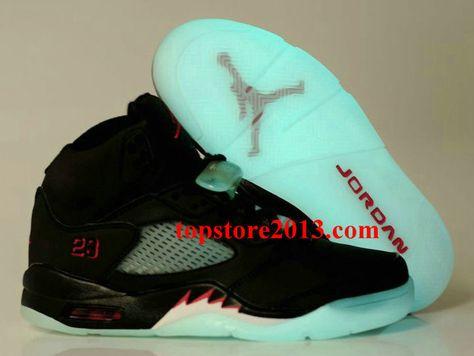 best website 721d9 f7864 Air Jordan 5 Womens Glow-in-the-Dark Sole Black Varsity Red