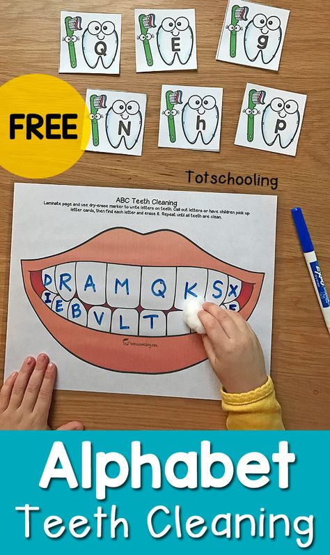 """FREE dental health activity for preschoolers to practice the alphabet while """"cleaning"""" letters from a set of teeth. Fun preschool activity for Dental Health Month! preschool Alphabet Teeth Cleaning Activity for Dental Health Month Preschool Classroom, Preschool Learning, In Kindergarten, Preschool Activities, Counting Activities, Number Games Preschool, Community Helpers Kindergarten, Sight Words For Kindergarten, Doctor Theme Preschool"""