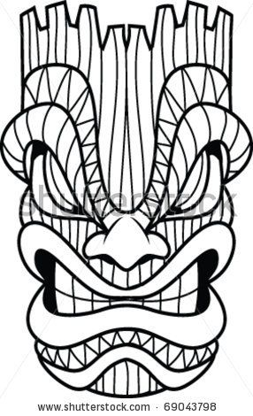 hawaiian tiki masks coloring pages tiki masks pinterest tiki statues masking and inspiration - Tiki Coloring Pages