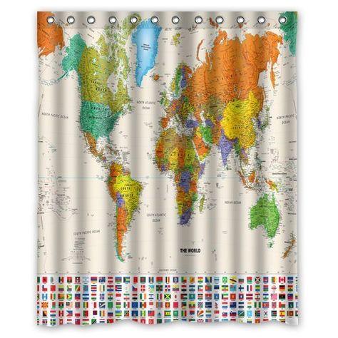 Generic Custom World Map And National Flag Shower Curtain Waterproof